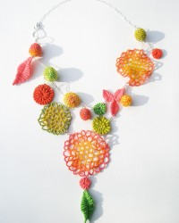 Summer Bouquet, Necklace.  Glass seed beads, linen, cotton, sterling silver.