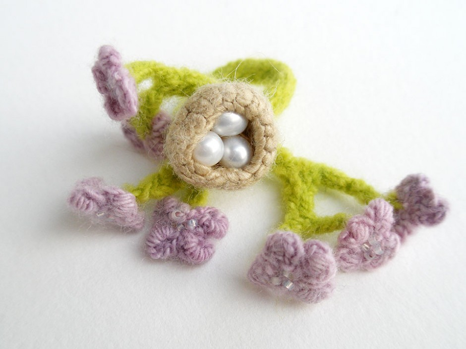 Spring Nest, ring.  Pearls, silk, merino wool, crocheted and knitted