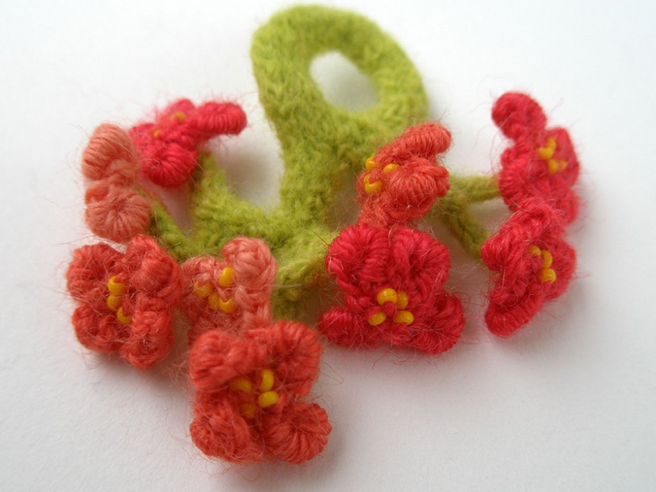 Cherry Blossoms, ring.  Glass seed beads, Crocheted and knitted wool.