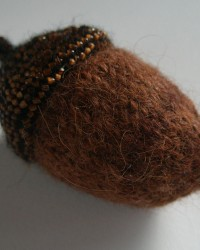 Acorn, Pin Cushion.   Glass beads, wool, hand-dyed,  crocheted, knitted, fulled.