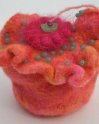 Jewelry Box.  Glass beads, wool, crocheting, knitting, fulling.