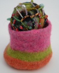 Jewelry Box.  Glass beads, nylon thread, wool, knitted, fulled.