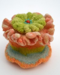 Jewelry Box.  Glass beads, wool, crocheted, knitted, fulled.