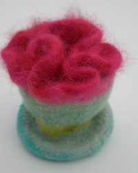 Jewelry Box.  Wool, crocheted, knitted, fulled