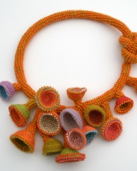 Liquid Sunset , Necklace.  Glass seed beads, merino wool, crocheted.