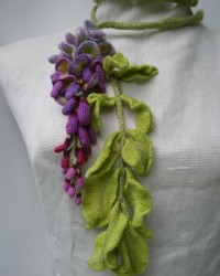 Wisteria, Garden Scarf.  Wool, crocheted, knitted, hand-dyed,fulled.