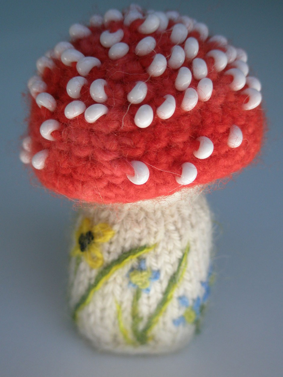 Mushroom Pin Cusion.  Glass beads, wool, wood.