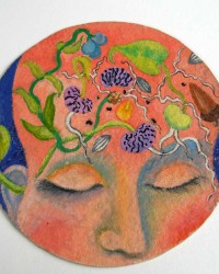 "Germinate.  Painting, mixed media on paper.  5"" circle."