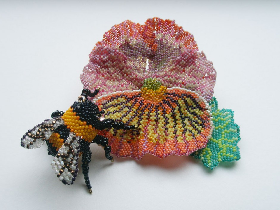 Pansy with Bee, Brooch.  Antique glass seed beads, wood, wire, nylon thread, sterling silver pin back.
