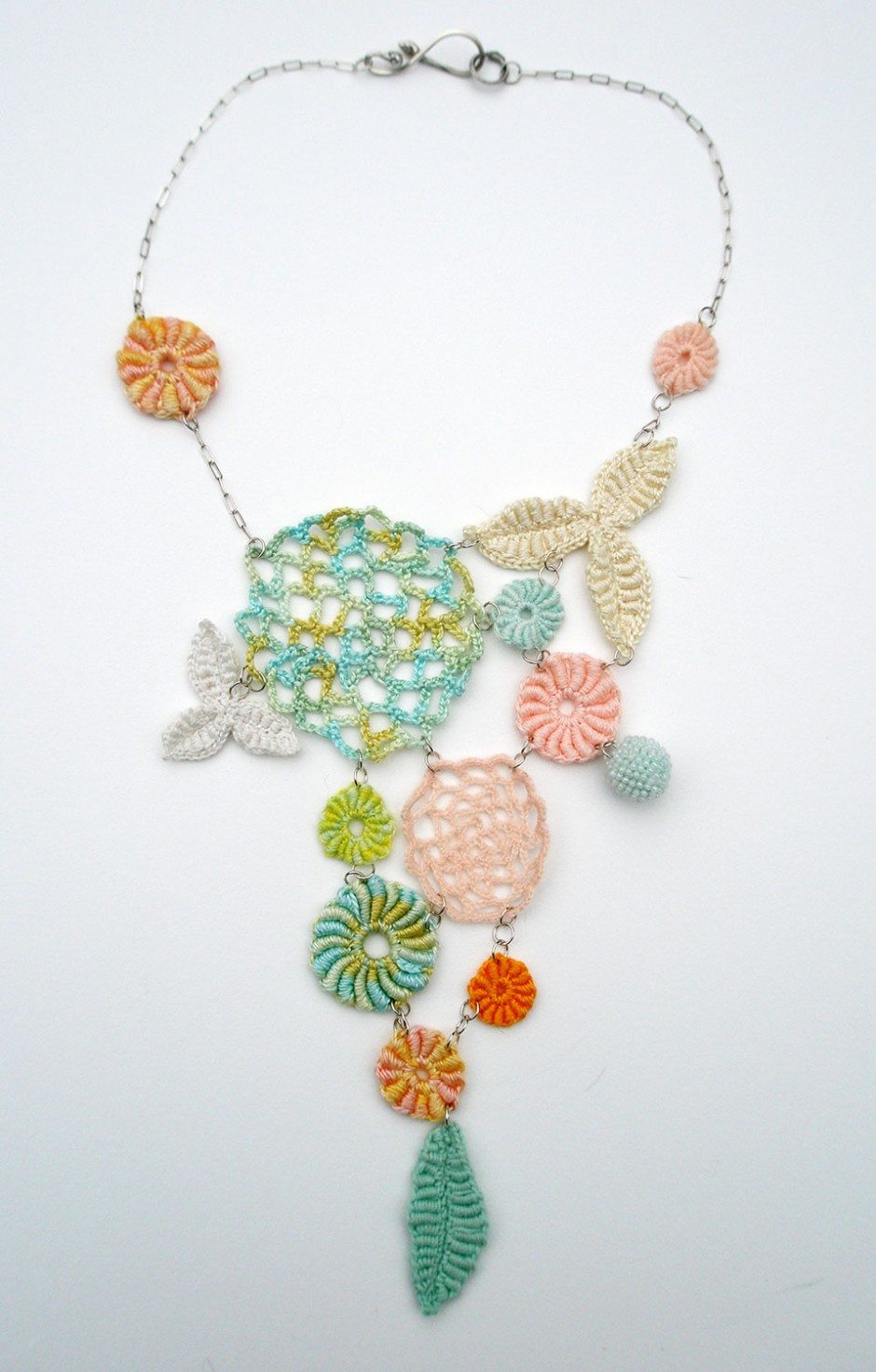 Sorbet Necklace.  Glass seed beads, linen, cotton, sterling silver.