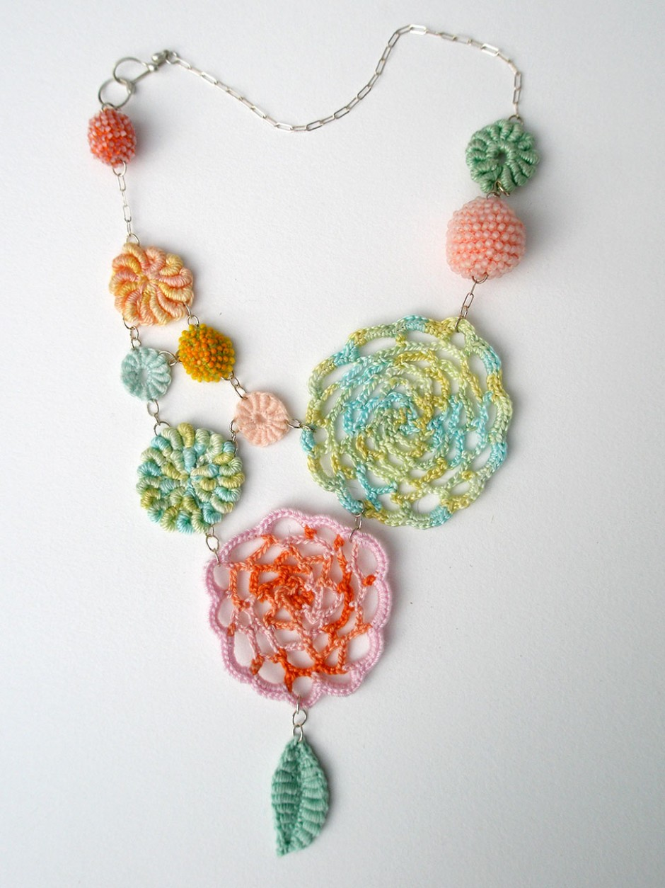 Spring in Your Step Necklace.  Glass seed beads, cotton, linen, sterling silver.