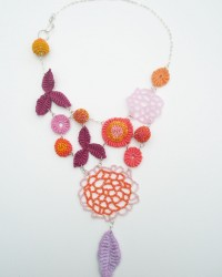 Raspberry and Orange Zest Necklace.  Glass seed beads, cotton, linen, sterling silver.