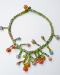 Lichen Necklace.  Glass seed beads, merino wool, crocheted.