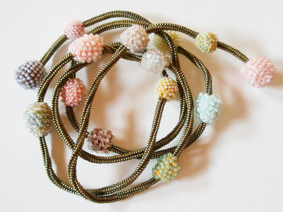 Bronze and Pastel Necklace.  Glass seed beads, linen, cotton, nylon thread, crocheted and beaded.