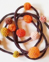Embers, Necklace.  Glass seed beads, cotton, linen, nylon thread, crocheted and beaded.