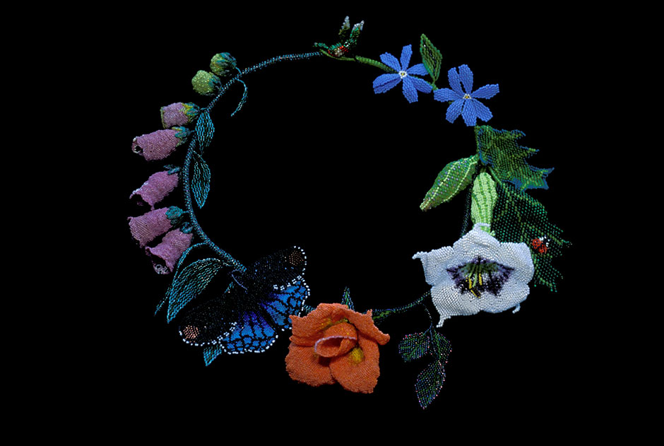 Garden Bouquet, Necklace.  Glass seed beads, nylon thread, wire.