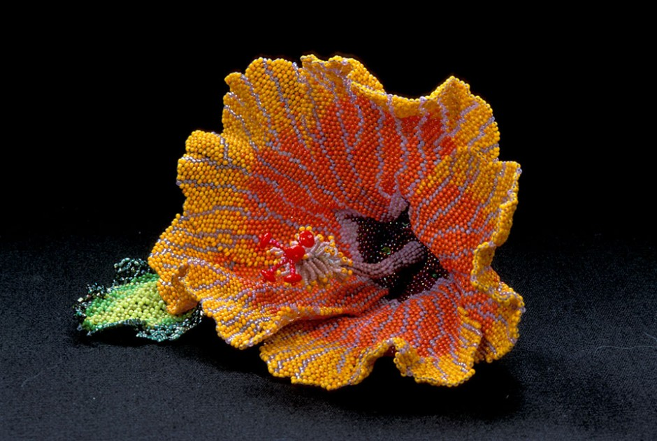 Suzen's Hibiscus, Brooch.  Glass seed beads, wire, nylon thread, sterling silver pin back.